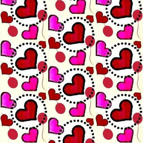Red hearts and ballons