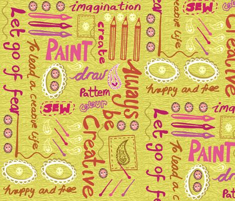 ...To Lead a Creative Life fabric by slumbermonkey on Spoonflower - custom fabric
