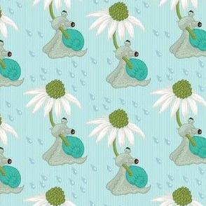 Snail & Coneflower in the Rain - Blue