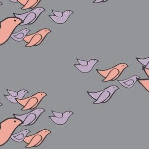 birds in flight in coral & dusty purple