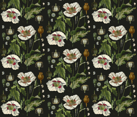 Botanical Poppy fabric - juliakodlart - Spoonflower