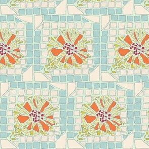 FLORAL MOSAIC blue and orange