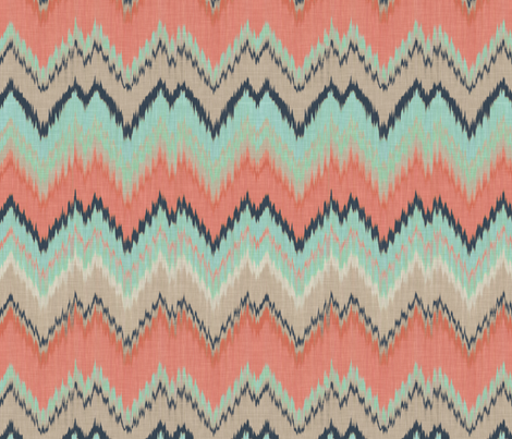 Coral, Mint and Navy Ikat Chevron fabric by willowlanetextiles on Spoonflower - custom fabric