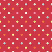 Multicolored Dots on Red