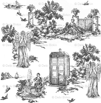 weeping angels toile de jouy