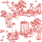 tardis weeping angels toile de jouy