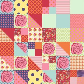 pink roses 1 yard panel