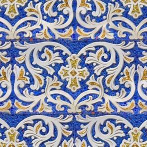 Byzantine mosaic  border - brick  - blue