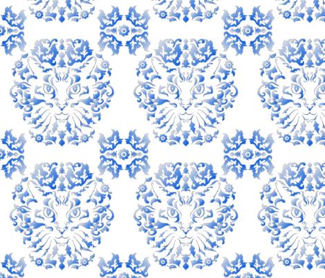 Cat Damask (Blue) fabric by vannina on Spoonflower - custom fabric