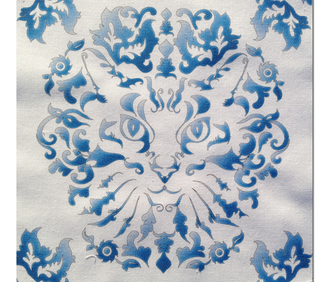 Cat Damask (Blue)