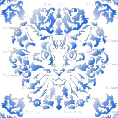 Cat Damask (Blue)