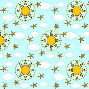 Sky with the sun and stars