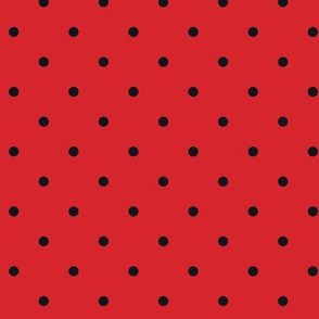 Little Dots Black on Red