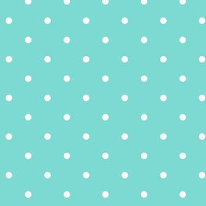 Little Dots WHITE on Aqua