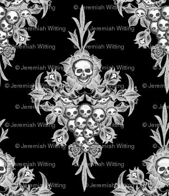 Skull Flower damask - Negative