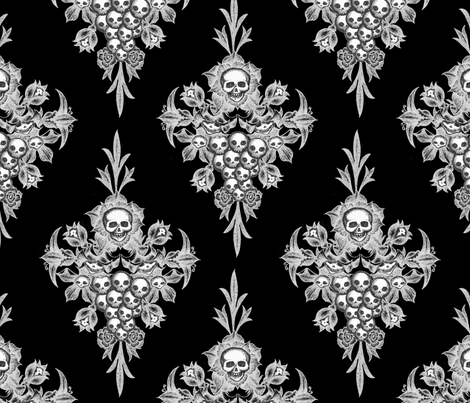 Skull Flower damask - Negative fabric by thecalvarium on Spoonflower - custom fabric