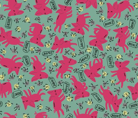 Galloping Piggybanks! Dancing Coins! Saving Money! fabric by mongiesama on Spoonflower - custom fabric