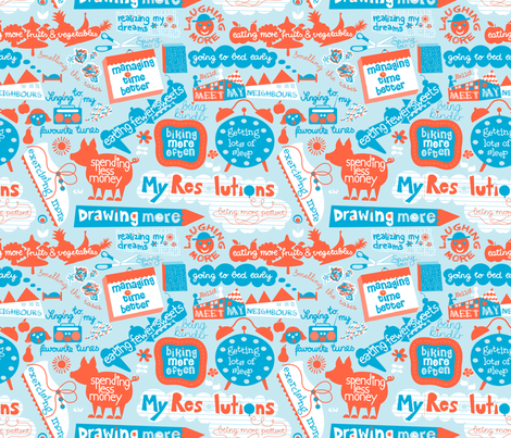 Doodly Resolutions fabric by christinewitte on Spoonflower - custom fabric