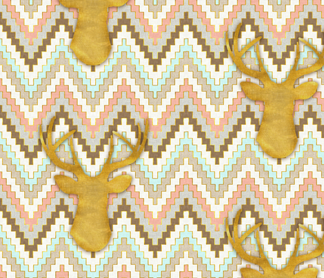 Chevron and Deer fabric by willowlanetextiles on Spoonflower - custom fabric