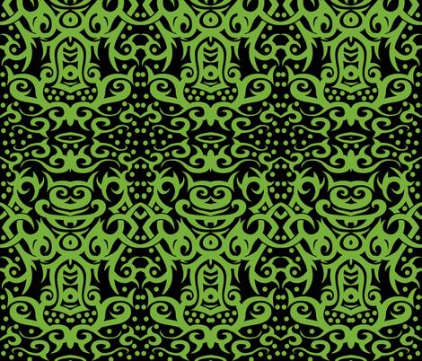 tribal damask green