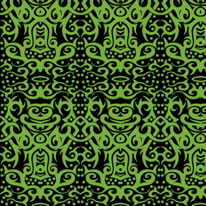 tribal damask green