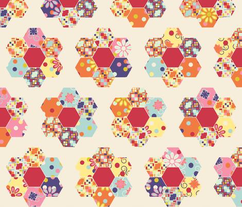 A Thoroughly Scrappy Grandma's Flower Garden fabric by bargello_stripes on Spoonflower - custom fabric
