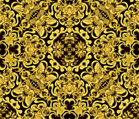 Claw of Foo Dog black and gold fabric by whimzwhirled on Spoonflower - custom fabric