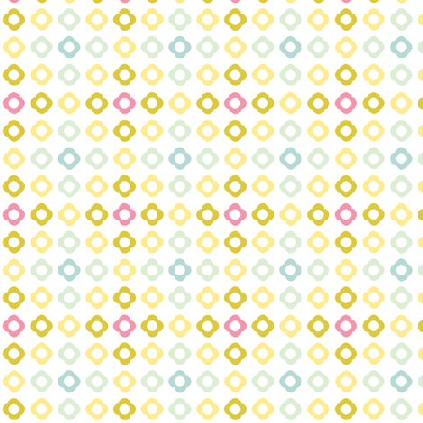 Flower dots grid - spring palette pink blue green fabric by little_fish on Spoonflower - custom fabric