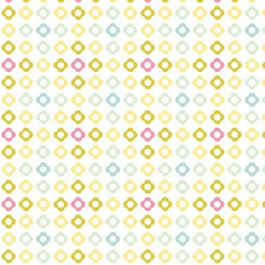 Flower dots grid - spring palette pink blue green