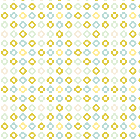Flower dots grid - spring palette beige green blue