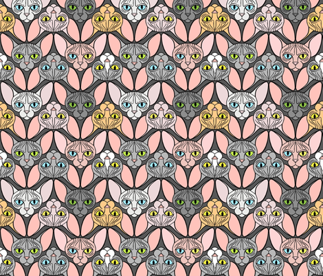 Sphynx Cat Chevron Grey Background fabric by glamourpuss on Spoonflower - custom fabric