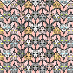 Sphynx Cat Chevron Grey Background
