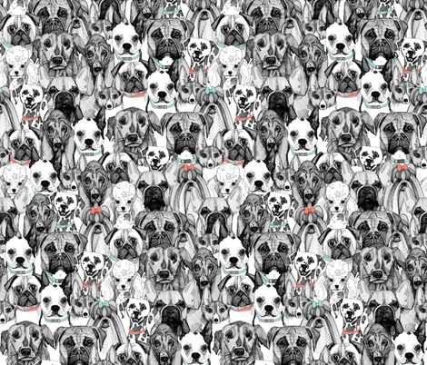 just dogs coral mint small fabric by scrummy on Spoonflower - custom fabric