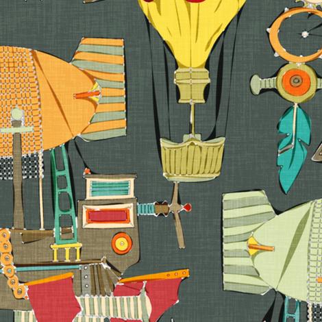 steampunk sky dark fabric by scrummy on Spoonflower - custom fabric