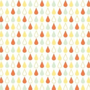 Rain drops - spring palette orange green yellow