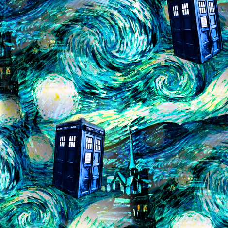 teal swirls blue police box starry night landscape (Valerie 375 dpi) fabric by bohobear on Spoonflower - custom fabric