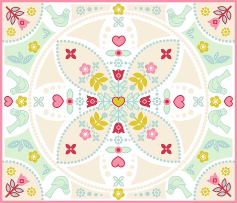 birdsblossom cheater quilt fabric by lilliblomma on Spoonflower - custom fabric