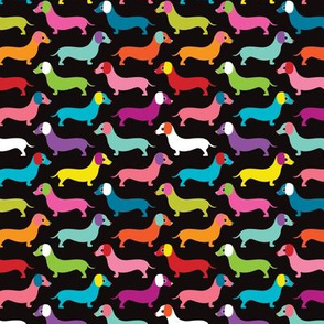 Retro dogs dachshund illustration pattern