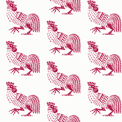 rooster strut red fabric by keweenawchris on Spoonflower - custom fabric