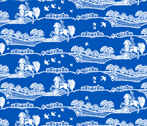 horseman blue fabric by keweenawchris on Spoonflower - custom fabric