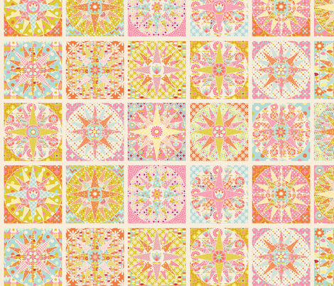spring_sunshine_cheater_quilt_beige_M fabric by nadja_petremand on Spoonflower - custom fabric