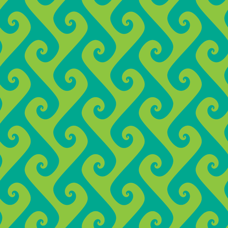 Tendrils in lime and aqua