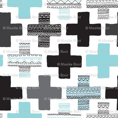 Plus plus cross geometric modern patterns