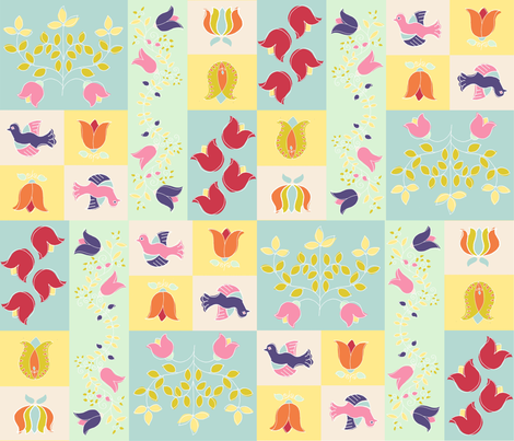 Spring Folk Quilt fabric by woodledoo on Spoonflower - custom fabric