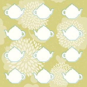 Retro teapot flowers pattern
