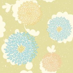 Retro colors flowers pattern