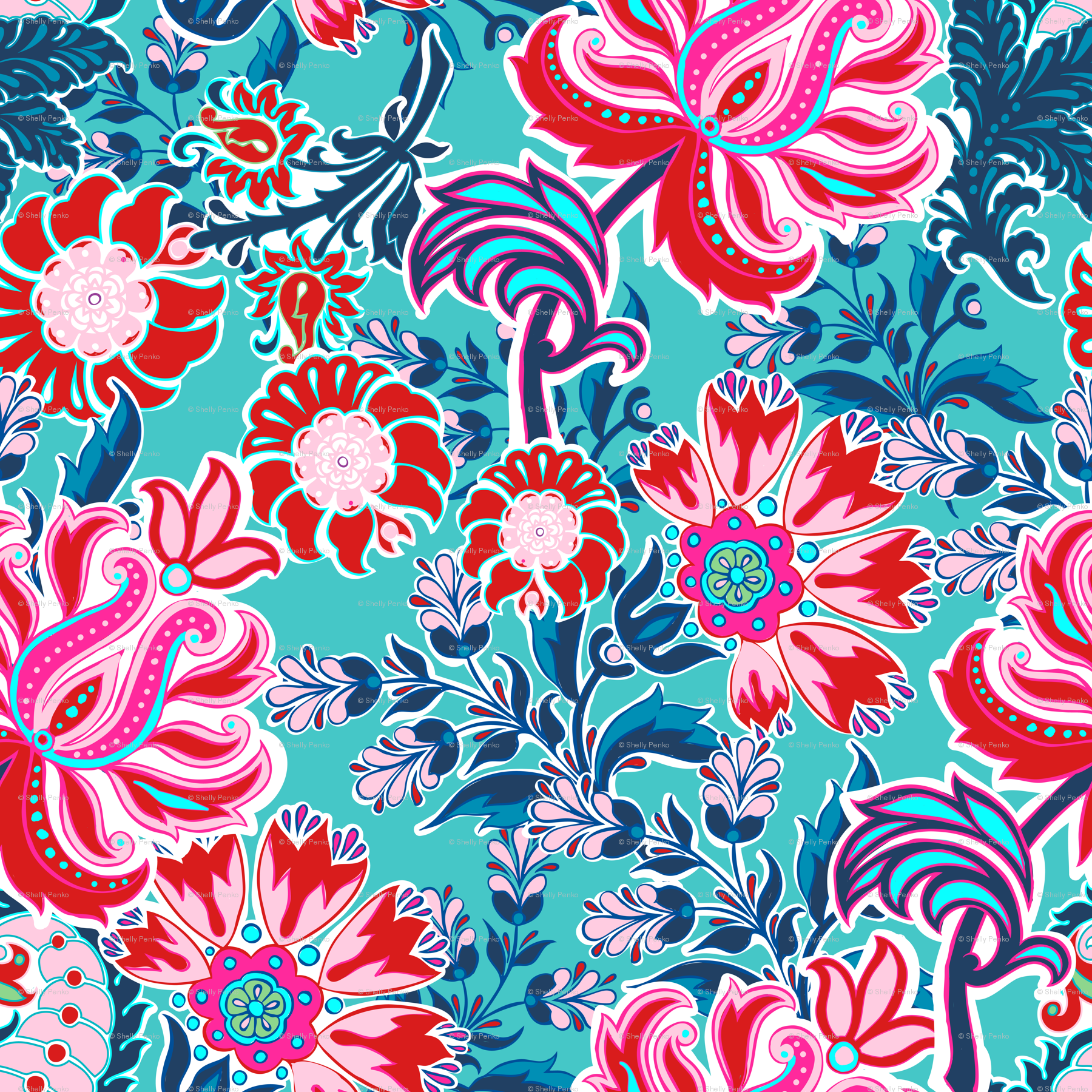 turquoise and pink paisley wallpaper