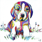 Rainbow Beagle Painting