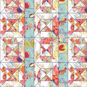 Spring Flowers Cheater Quilt Block