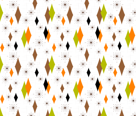 Burmond #B1 (Orange/Olive/Brown) fabric by gammagammahey on Spoonflower - custom fabric